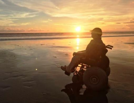 Seminyak with our beach wheelchair, photo by Wheelchair Travellers