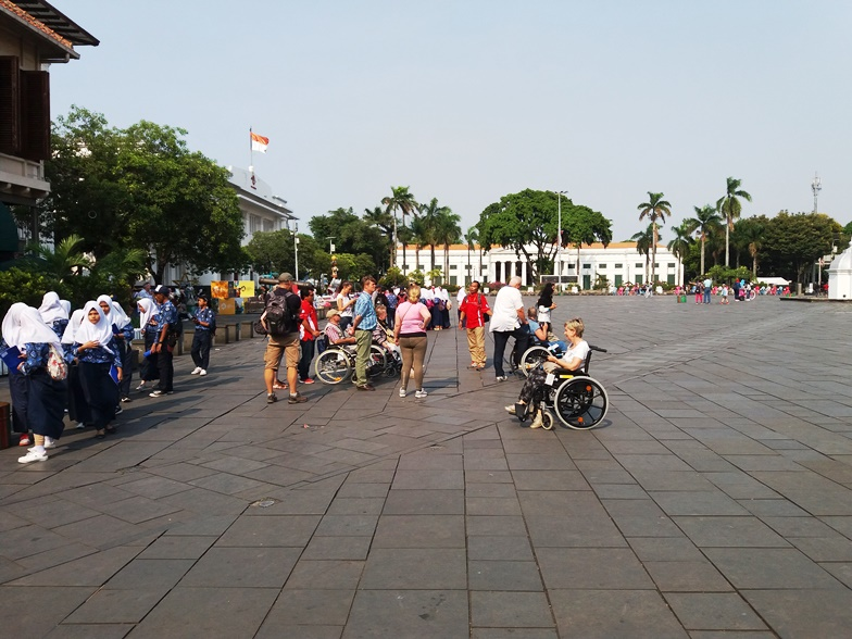 Fatahilla Square. Travel with a wheelchair in Jakarta