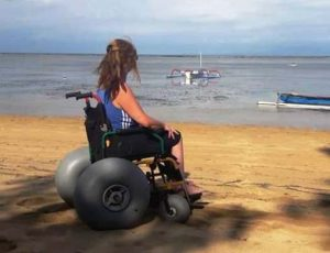 at sanur with beach wheelchair
