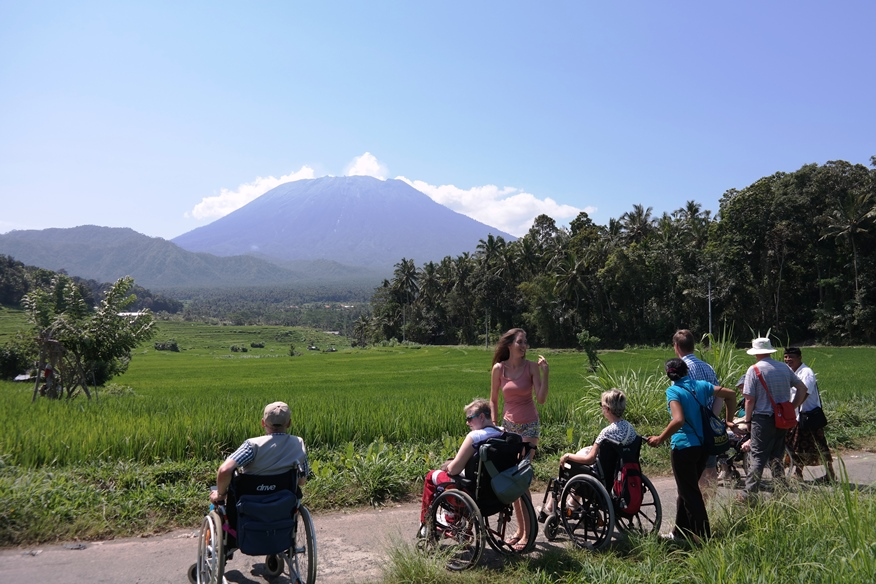 Candidasa. Accessible wheelchair travel in Bali
