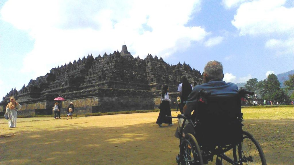 Borobudur from outside. Travel with a wheelchair in Yogyakarta