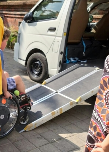 trifold ramp in hiace. Transport with wheelchair