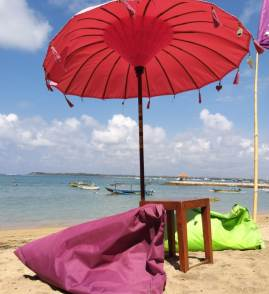 Bali beach with umbrella