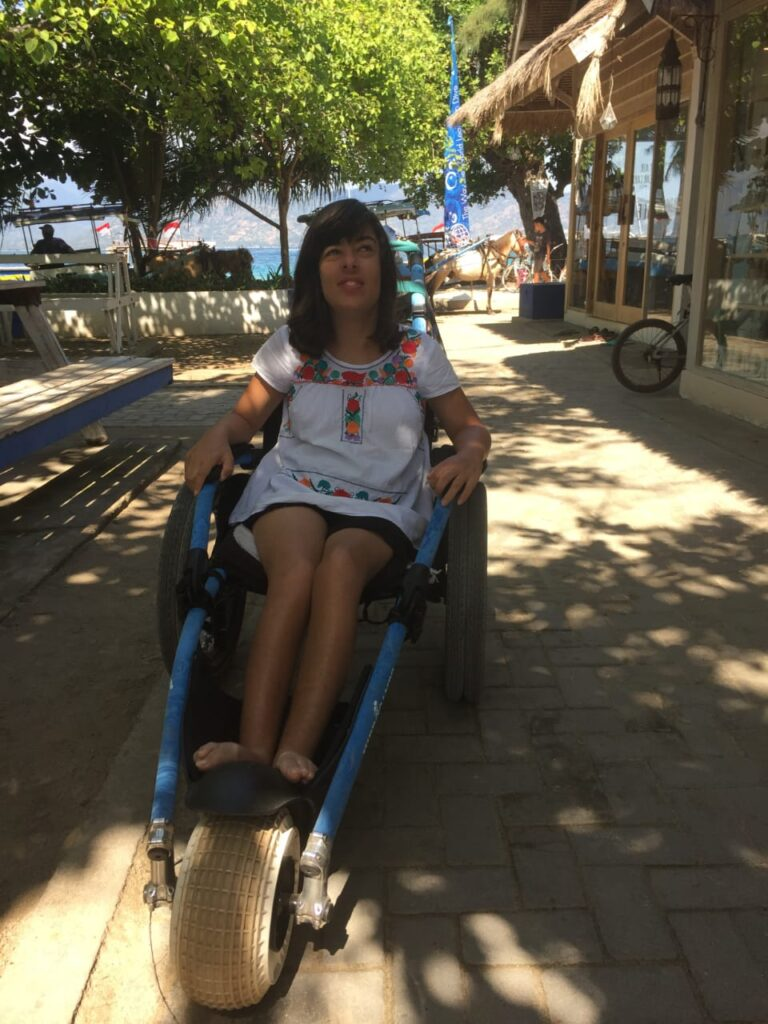 Morgan with beach wheelchair